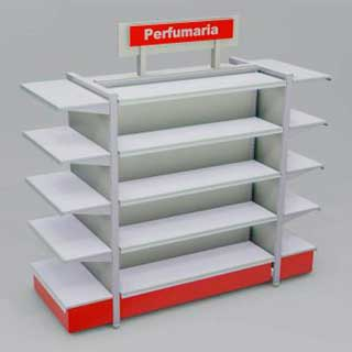 gondola prateleira lateral - Confira quais são os móveis para farmácias mais adequados para fazer a exposição dos produtos